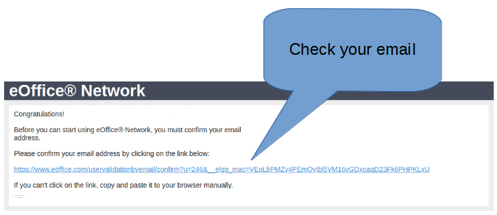 Confirm your email address    : eOffice® Network - The